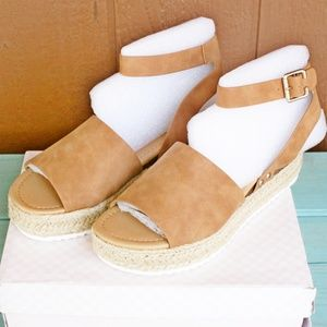 SODA Topic Sandals Espadrille Natural Brown NEW